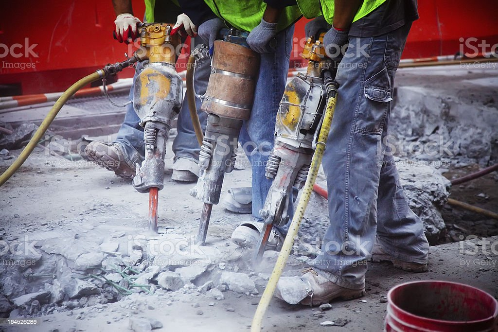 Working on a road construction stock photo