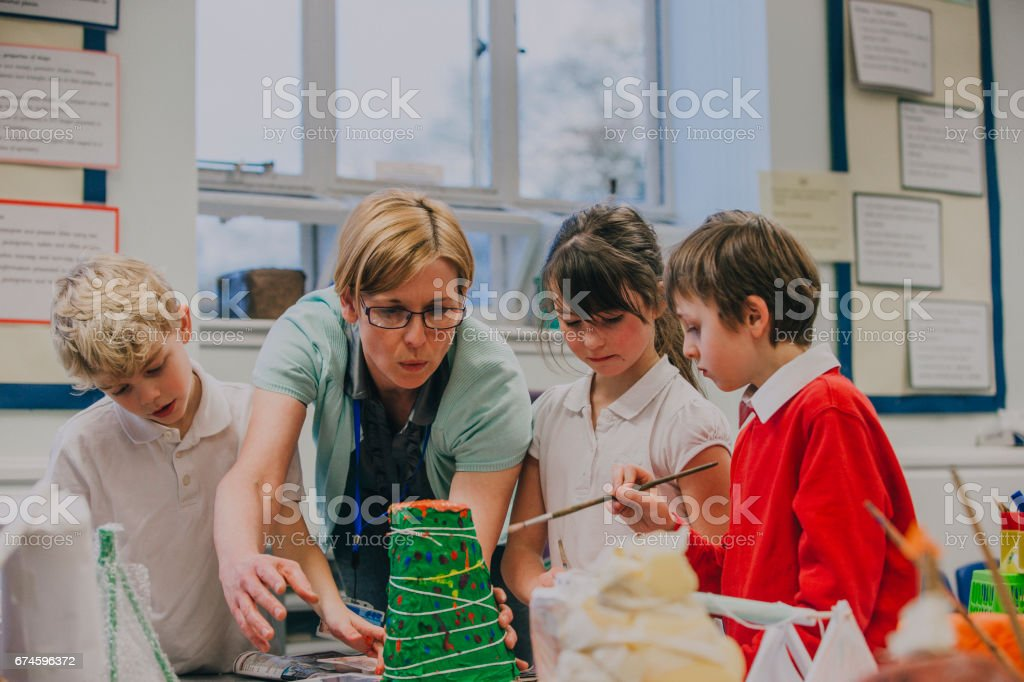 Working On A Science Project stock photo