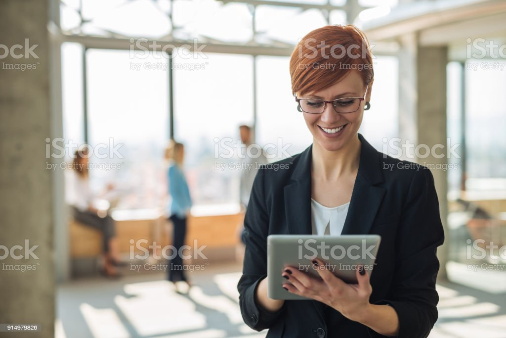 Working on a tablet stock photo