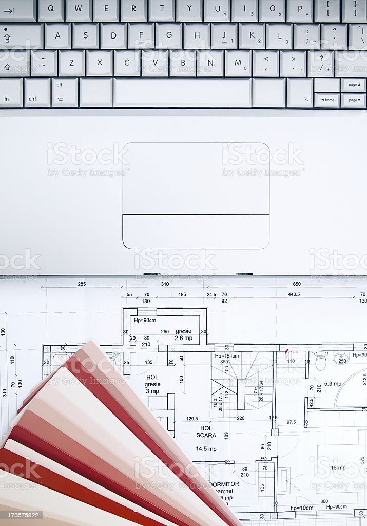 Working on an architecture plan royalty-free stock photo