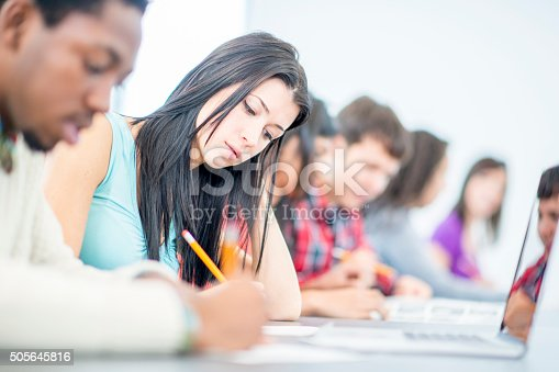 istock Working on an in Class Assignment 505645816