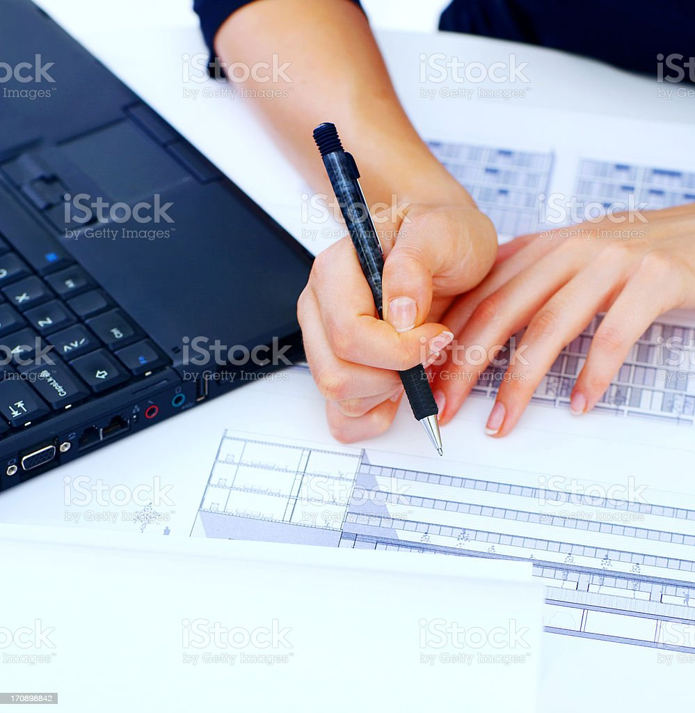 Working on blue print royalty-free stock photo