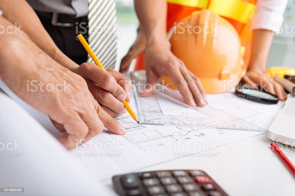 Working on blueprint stock photo