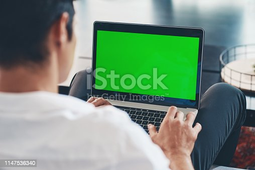 istock Working on his blog 1147536340