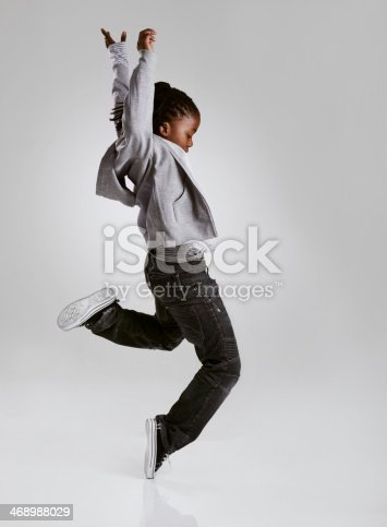 istock Working on his hip hop routine 468988029