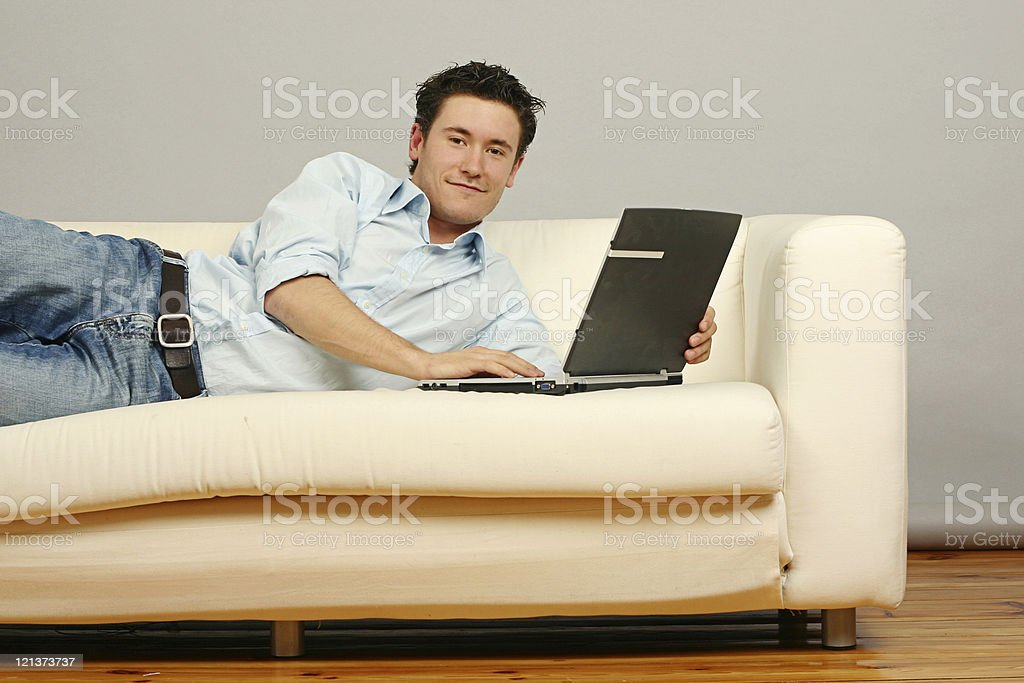 Working on laptop at home royalty-free stock photo