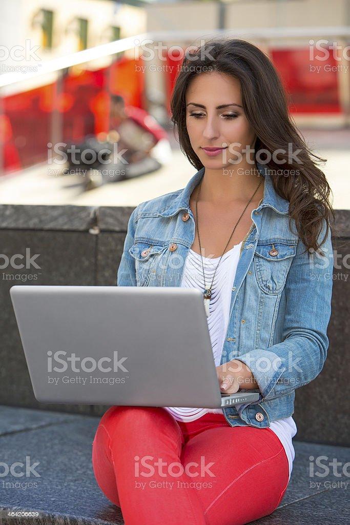 Working on laptop stock photo