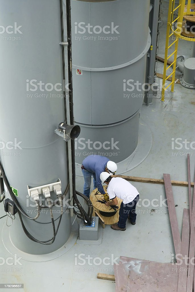 Working on Oil Rig royalty-free stock photo