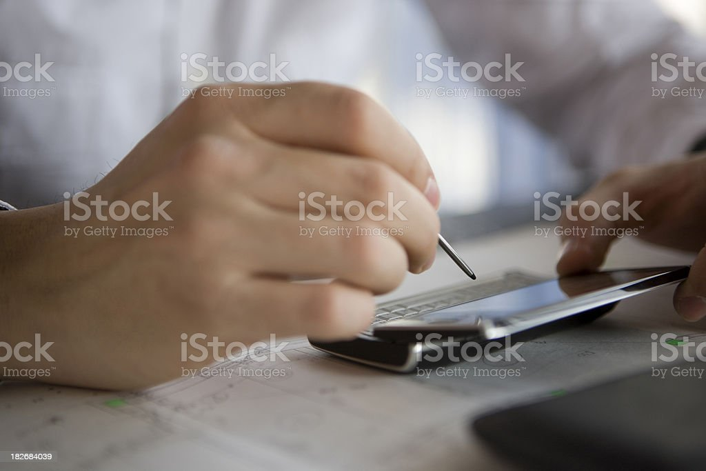 Working on PDA royalty-free stock photo