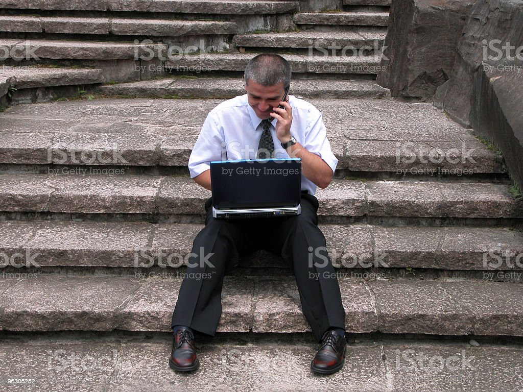 Working on rocks stairs royalty-free stock photo