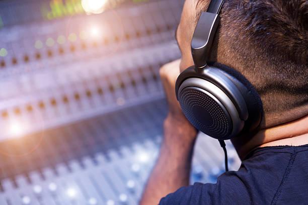 Working On Sound Mixer stock photo