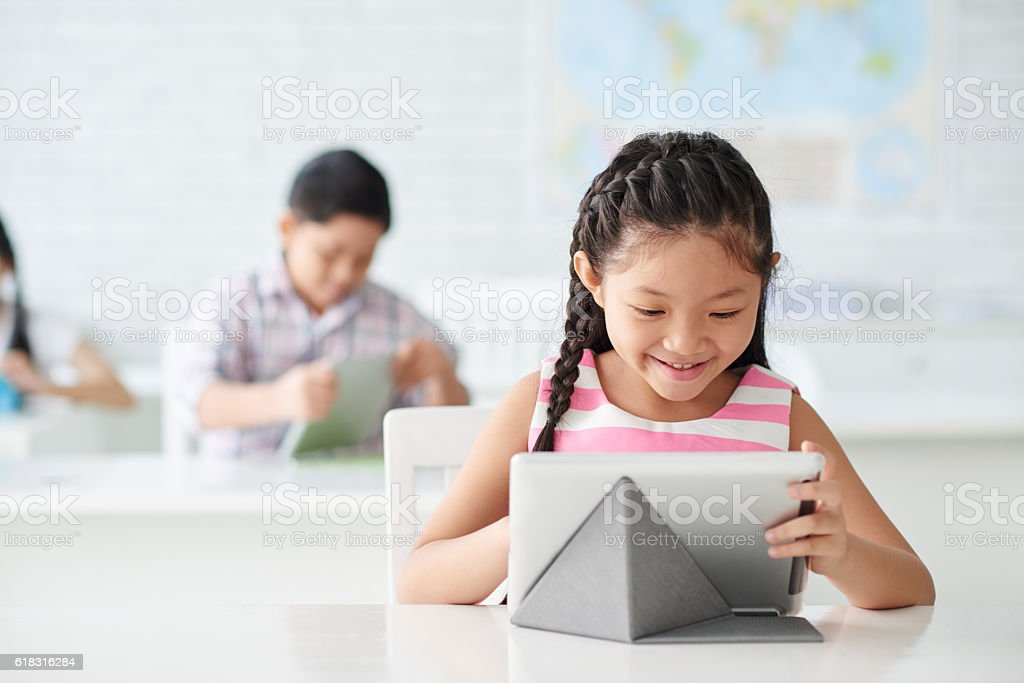 Working on tablet stock photo