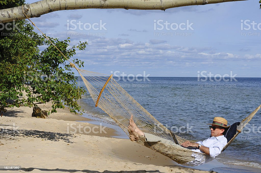 Working on the Beach royalty-free stock photo