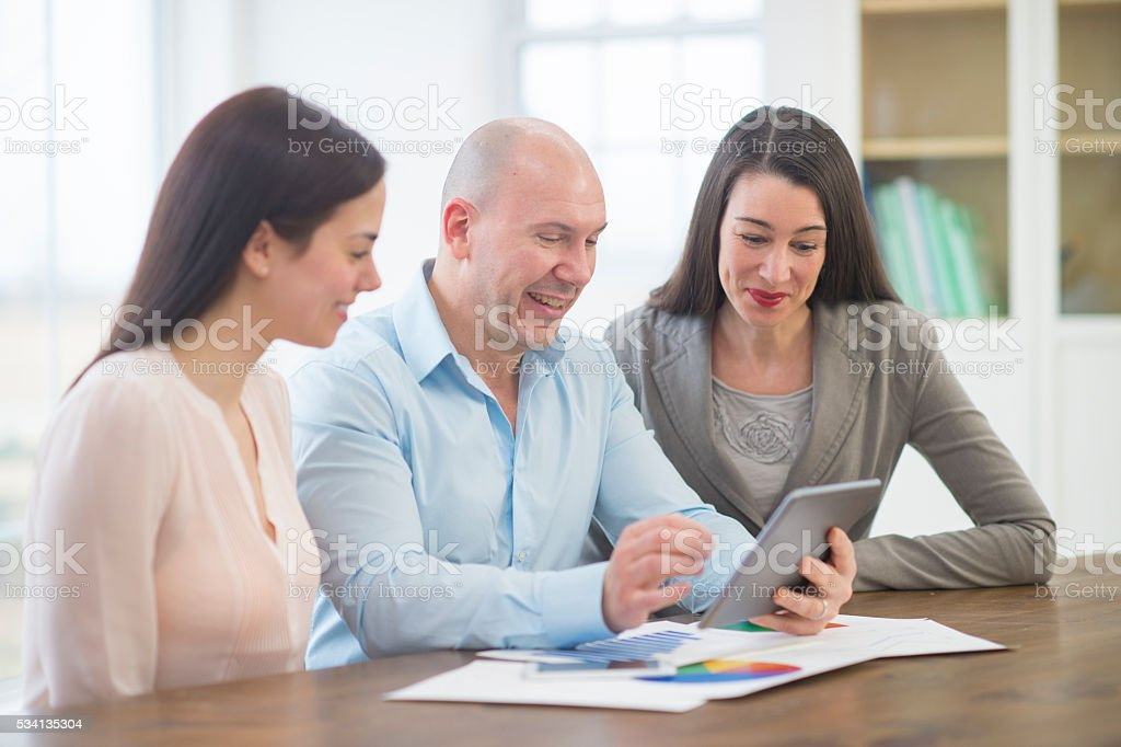 Working on the Companies Social Media stock photo