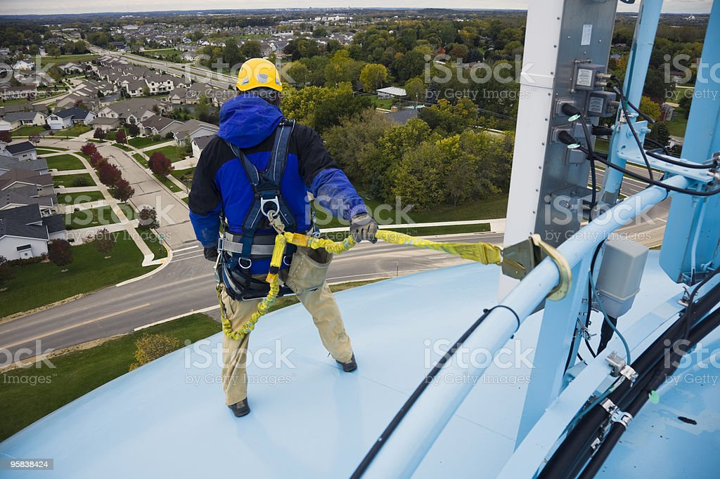 Working on the heights stock photo