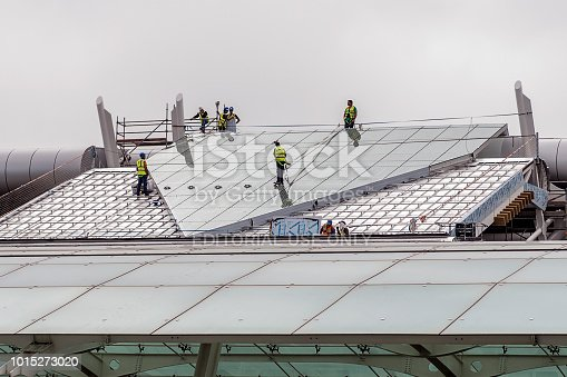 istock Working on the industrial building roof 1015273020