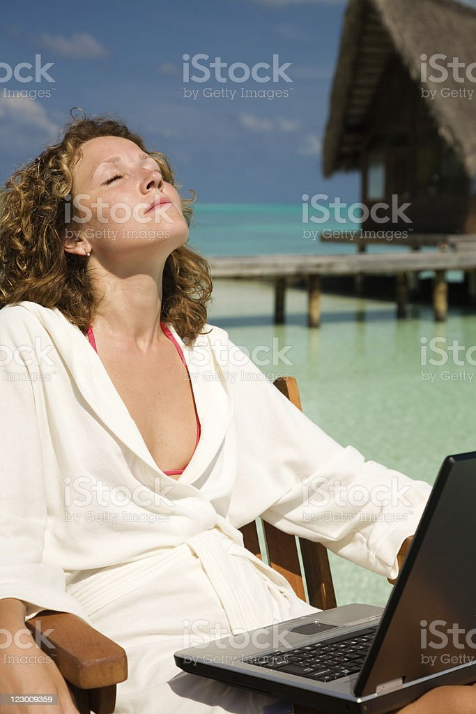 Working on Vacation royalty-free stock photo