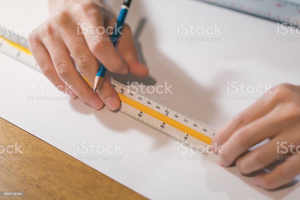Working on white paper stock photo