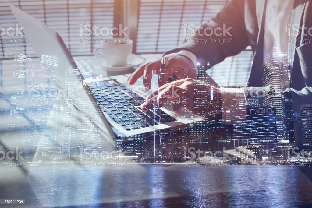 working online on laptop, closeup of hands, checking email stock photo