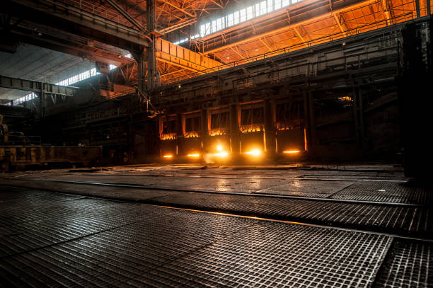 Working open hearth furnace stock photo