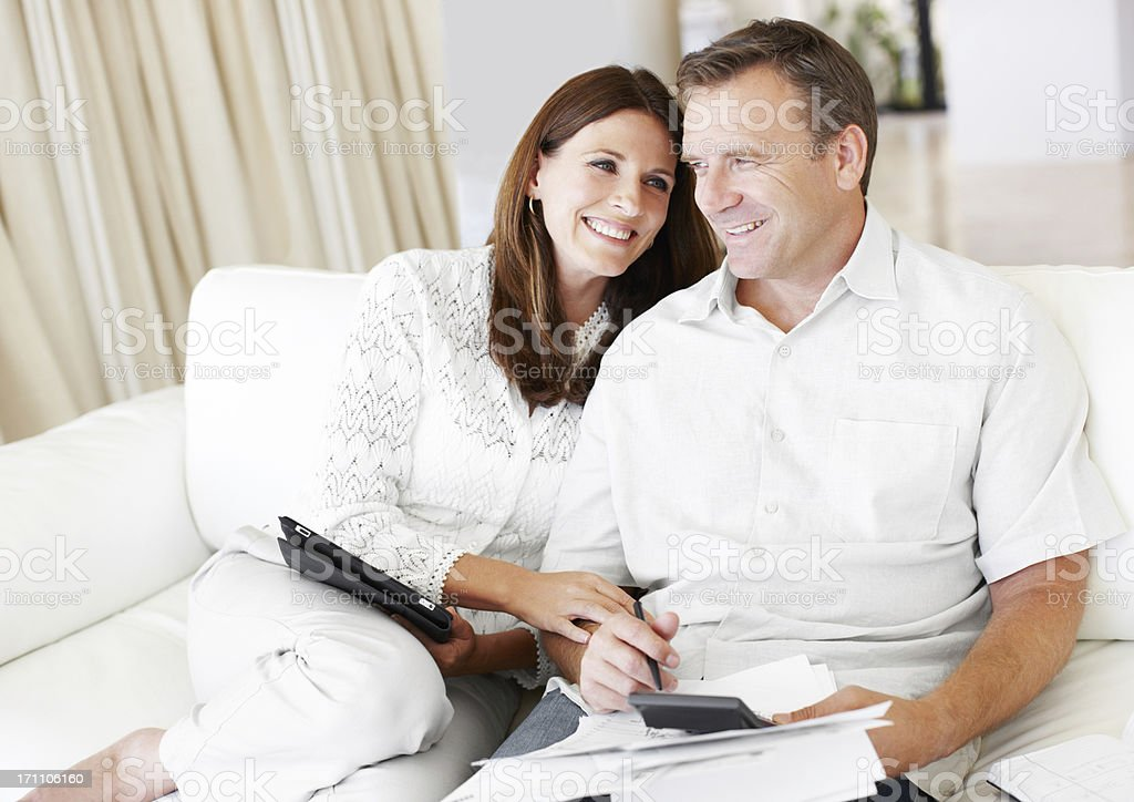 Working out our monthly budget royalty-free stock photo