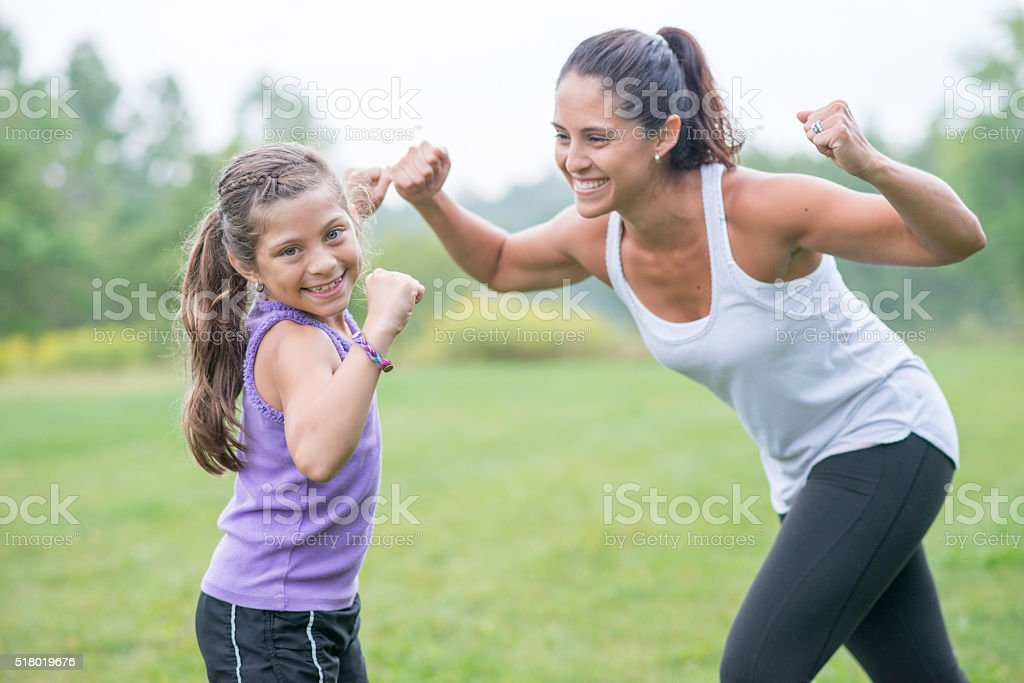 Working Out Together on Mother's Day stock photo