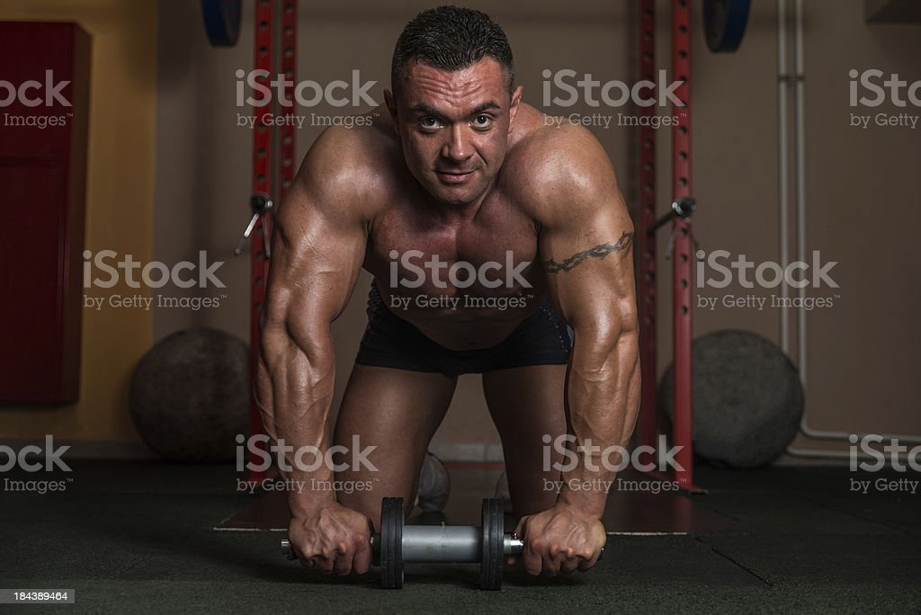 Working Out With Ab Roller stock photo