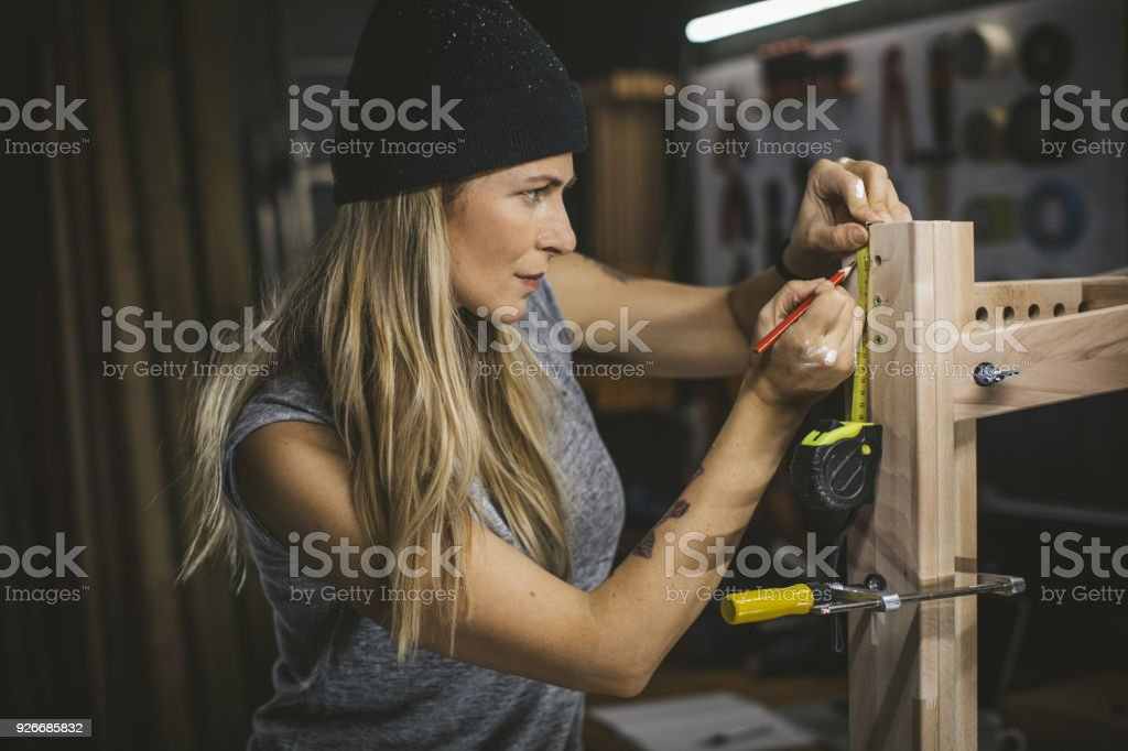 Working patiently on assembling stock photo