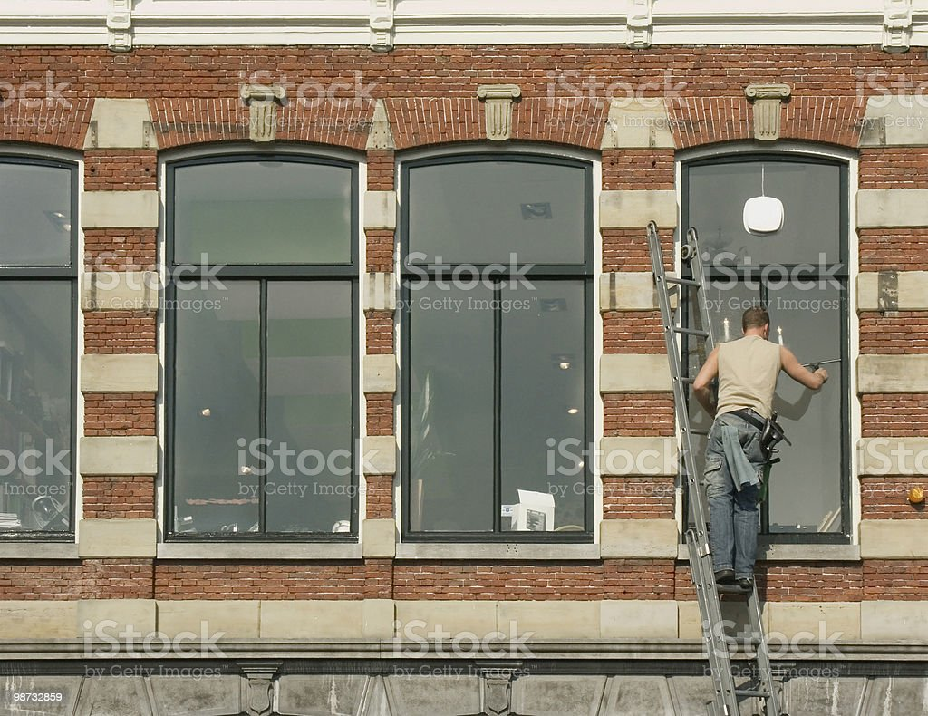Working People; Window Cleaner royalty-free stock photo