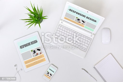istock Working Place of web Designer on white Table top View 617390566