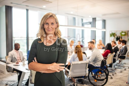 660681964istockphoto Working Portrait of Standing Businesswoman in Board Room 1202520721