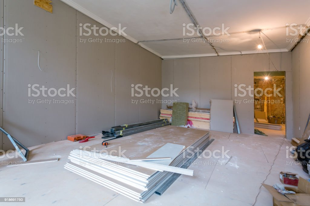 Working Process Of Installing Metal Frames For Plasterboard For ...