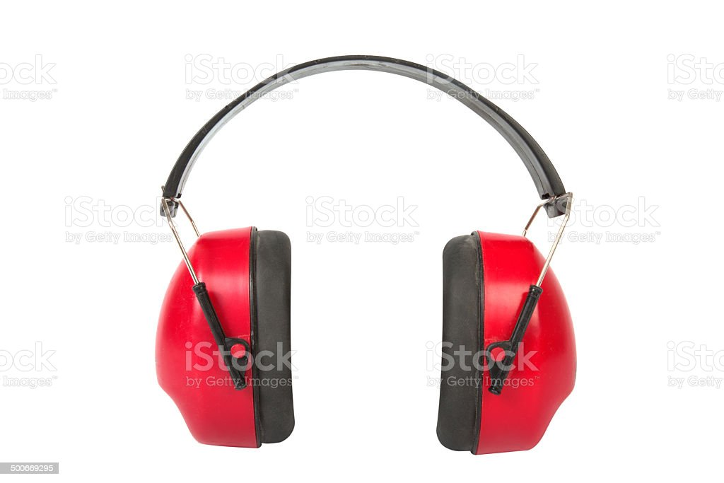 Working protective headphones. stock photo