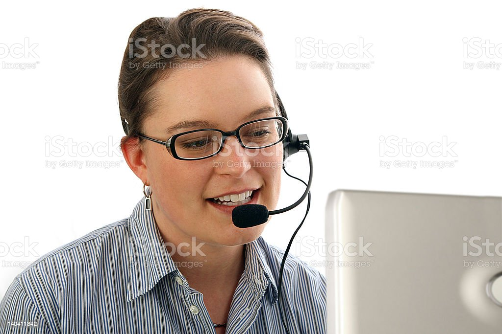 Working receptionist royalty-free stock photo