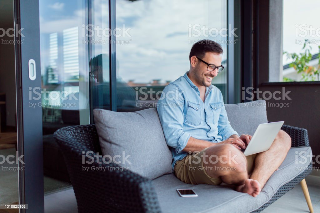 Working remotely stock photo