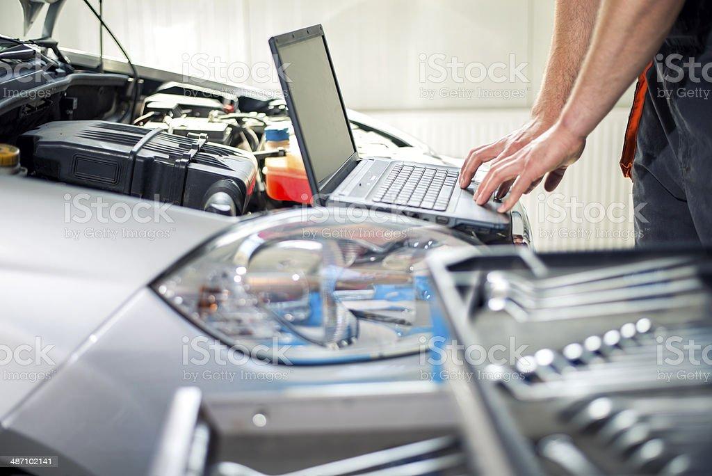 Working repairman Engine failure detection Adult Stock Photo