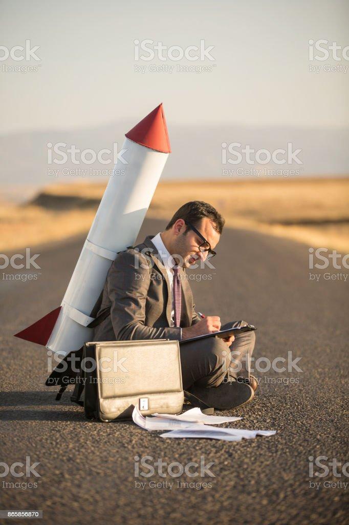Arbeiten Rakete Geschäftsmann – Foto