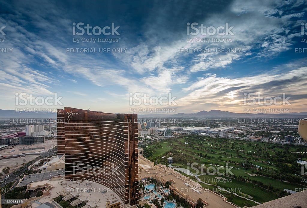Working round-the-clock modern Vegas hotels casinos Wynn and Encore stock photo