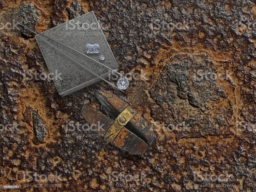 working rusty plate with diamonds royalty-free stock photo