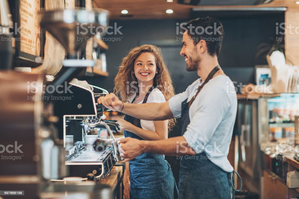 Working side by side stock photo