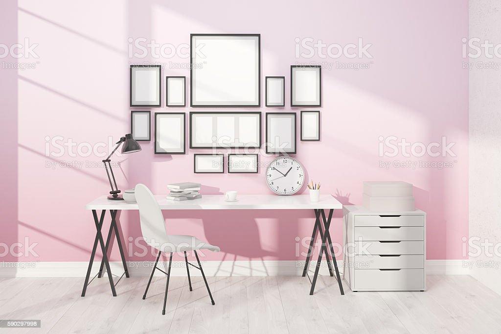 Working space with posters royaltyfri bildbanksbilder