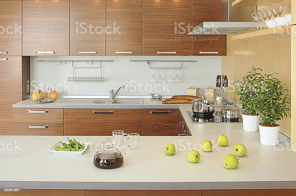 working spase on modern kitchen stock photo