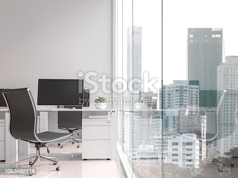 istock A working table located by the window with city view 3d render 1065492116