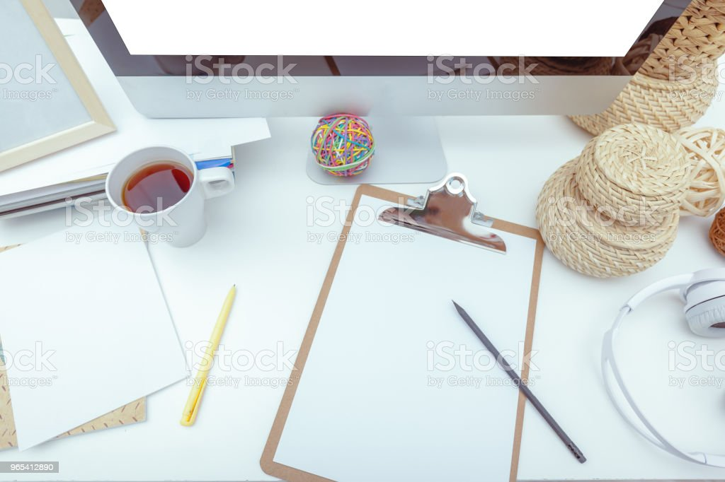 working table with computer royalty-free stock photo