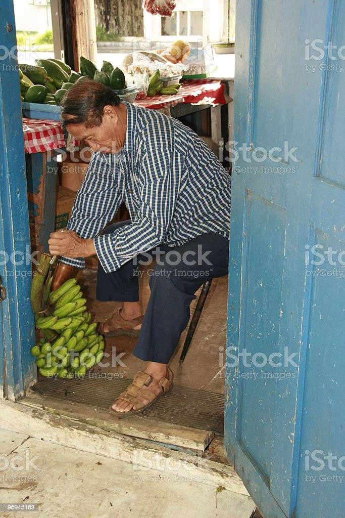 Working the Fruitstand royalty-free stock photo