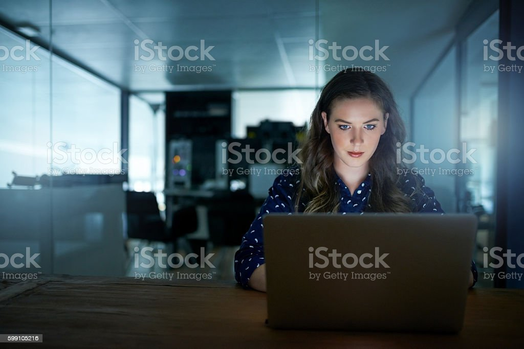 Working the late shift stock photo