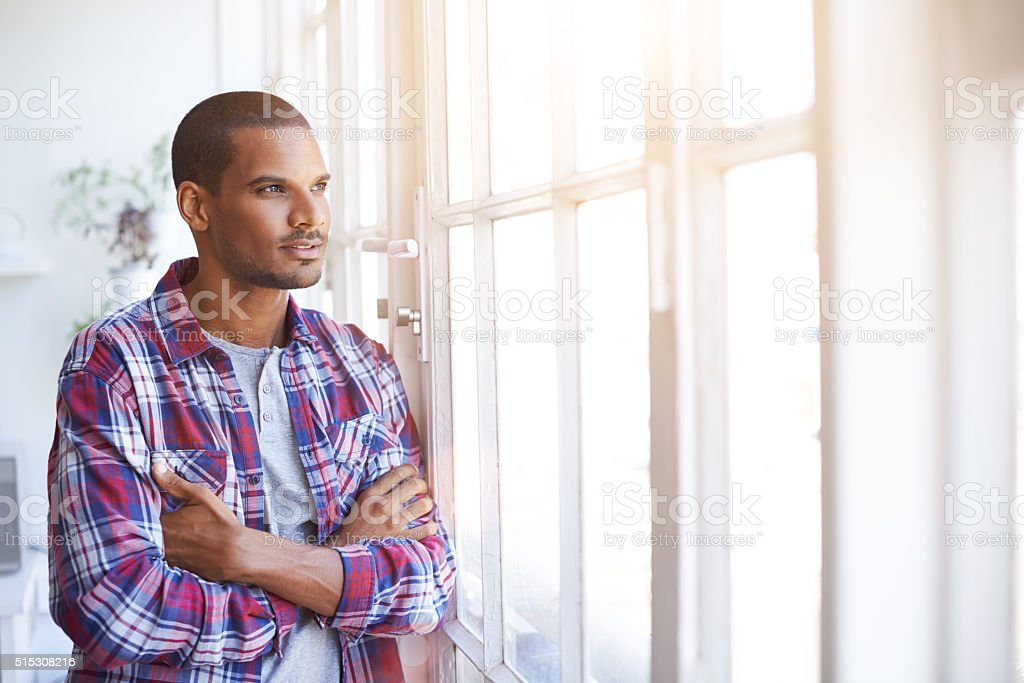 Working through his thoughts stock photo