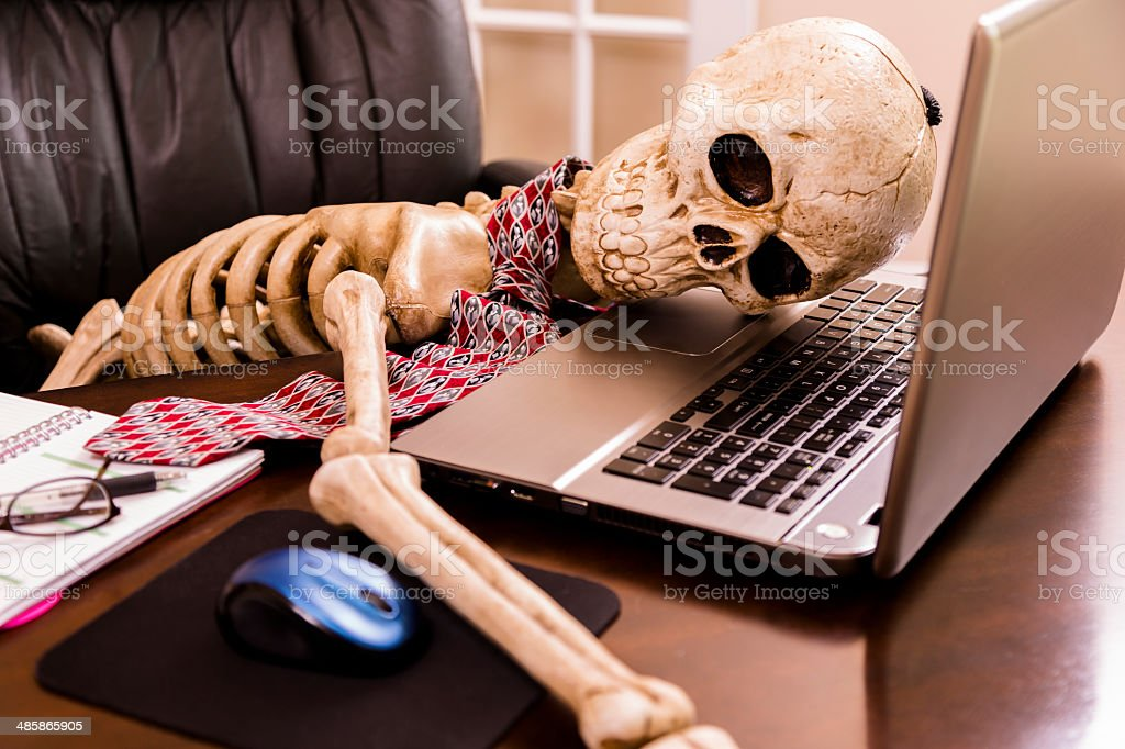 Working To Death Business Mans Skeleton Using Laptop In