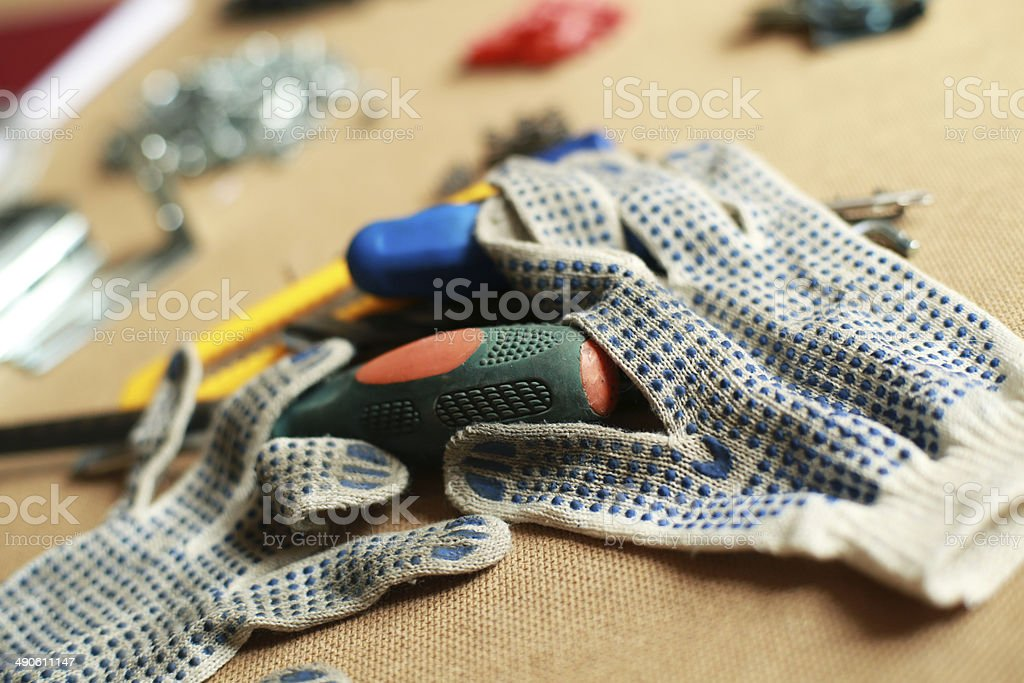 Working tool and work gloves, work stock photo
