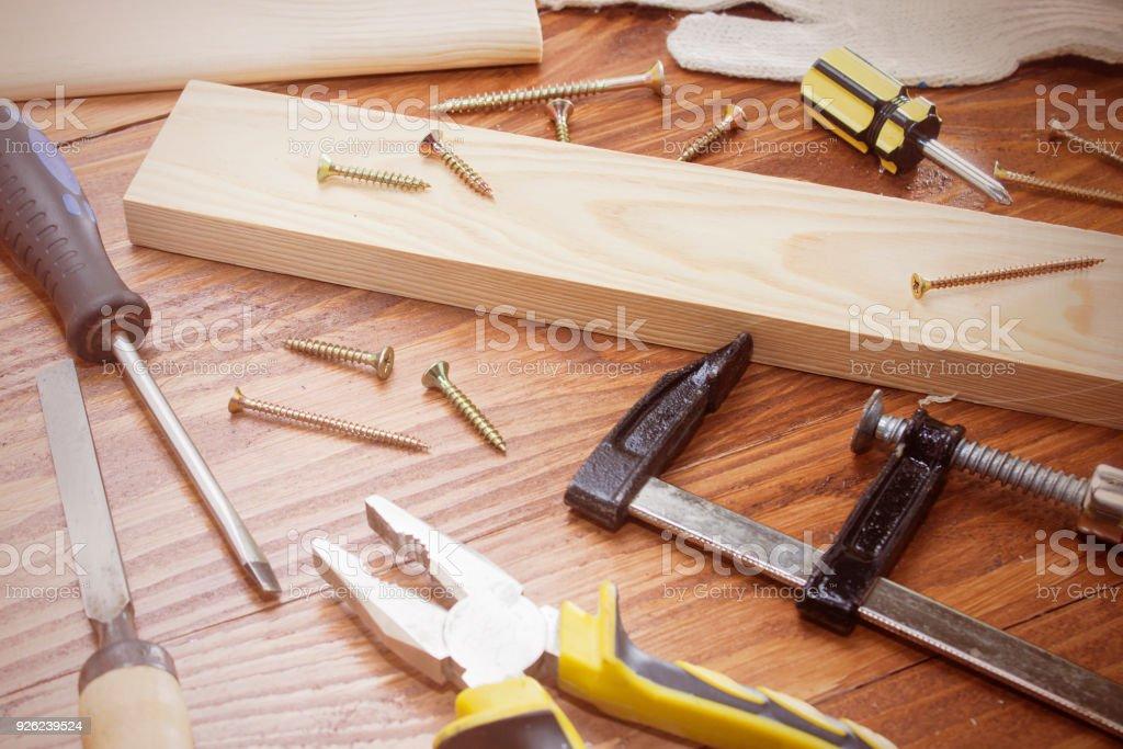 working tool carpenter ruler, chisel, pencil, sawdust and shavings. stock photo